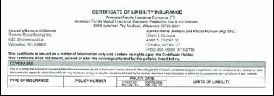 insurance certficate